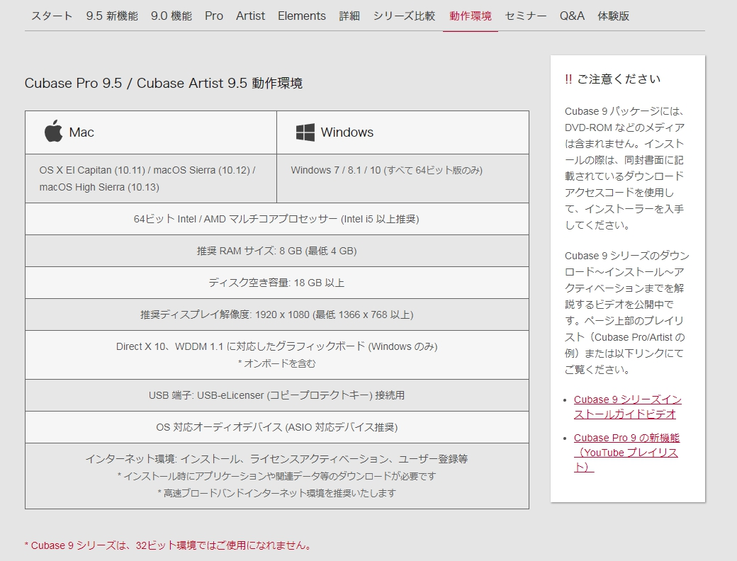 CUBASE Pro9.5公式サイトのスペック表